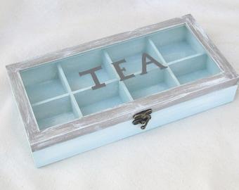 Wooden tea box blue brown with compartments, tea storage box , box glass lid,  gift for tea lover ,coastal decor , tea bags organizer