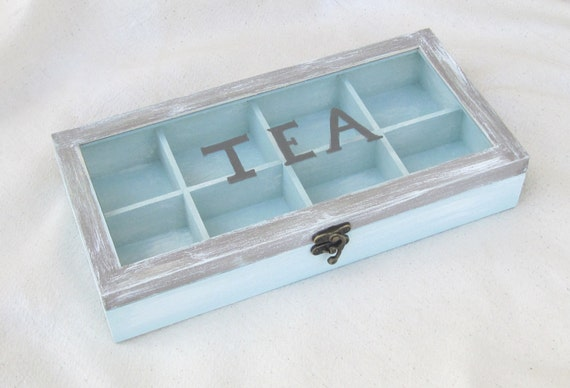 Wooden Tea Box Blue Brown With Compartments Tea Storage Box