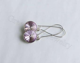 Dangle & Drop Earrings. Approx. 1in. length-Crystal-Birthstone-Light Purple-June