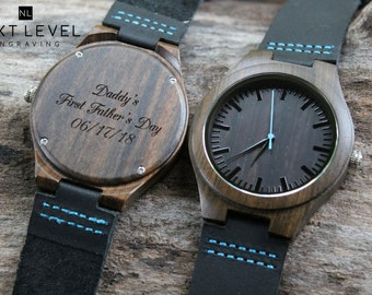 Custom Fathers Day Gift from Wife to Husband Gift Wood Personalized Leather Watches, Gift for Grandpa, Husband Gifts for Dad from Daughter