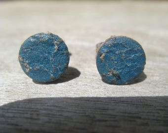 Leather Earrings - Leather Stud Earrings - Boho Earrings - Distressed Leather Earrings - Blue Leather Earrings - Dot Earrings
