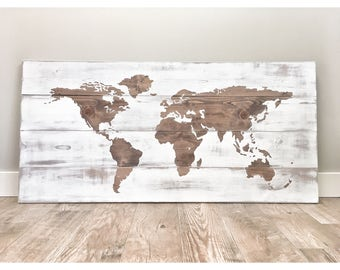 Rustic Wood World Map, Rustic Decor, Farmhouse Decor, Rustic Nursery Decor, Wall Decor, Wooden White World Map - 46 x 22