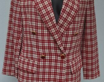 Blazer vintage à carreaux coupe croisée GUY LAROCHE Boutique Taille 38 FR