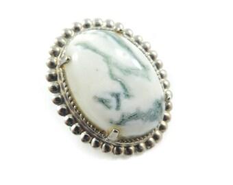 Vintage White Green Stone Brooch, Silver Tone Frame, Semi Precious Stone, Lapidary, V36