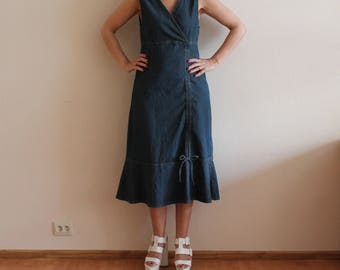 Denim Dress Long Denim Dress Jean Dress Sleeveless Denim Country Western Cowgirl Summer Dress   Large Size