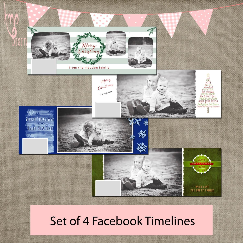 Facebook Timeline Vorlage Cover Set Baum Kranz Schneeflocken