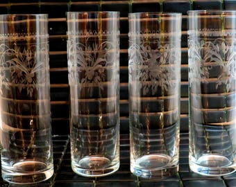 Vintage Tom Collins Glasses-Etched-FLAWLESS Condition-Highly polished bases-No Wear or signs of Use-Set of 4