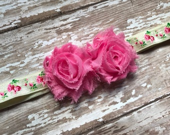 Pink flower Infant/Children's Headband: Pink chiffon flowers rested on a matching floral print stretch headband Infant, Children's, Girls