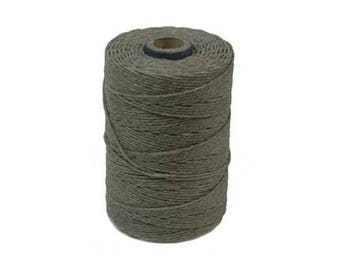 Irish Waxed Linen Thread Olive Green 43684 (50gr, 100yds), Crawford Irish Waxed Linen Cording, 4-Ply Waxed Linen, Green Linen Jewelry Cord