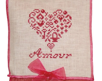 JBW DESIGNS French Country Amour counted cross stitch patterns at thecottageneedle.com Valentine's Day love February wedding romance pink