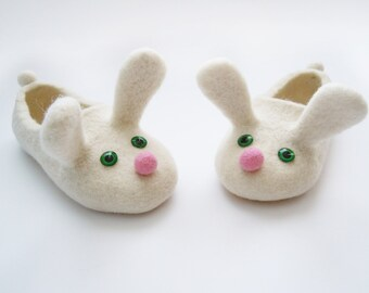 Two white bunnies. Felted kid size slippers