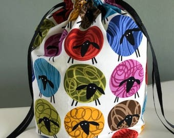 Drawstring Project Bag- Sheep Thrills- Brightly Colored Sheep on Cream Background- Sits Flat, Fully Lined