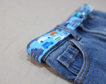 toddler child tween belt - peak hour / organic cotton cars trucks / blue white orange grey / boy / 1-3, 4-8, 9-12 years