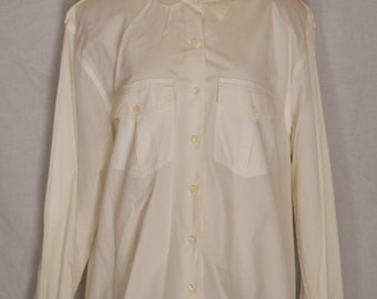1980s Cream Long Sleeve Button Down Shirt Size 14