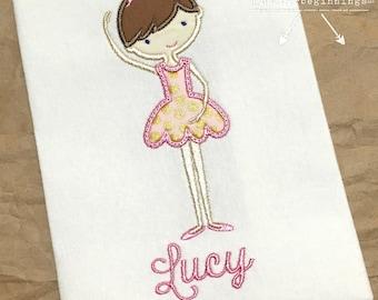 Ballet Applique Shirt / Personalized Dancer Shirt / Personalized Dance Shirt / Pink Ballet Shirt / Girl's Ballet Shirt / Ballerina Shirt