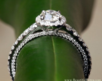 Round OLD and NEW - 1.31 carats total - Old Mine Cut Center Diamond - Halo - Antique Style - Diamond Engagement Ring 14K - Bph031