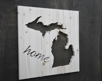 "Michigan State Wood Silhouette Cutout ""Home"""