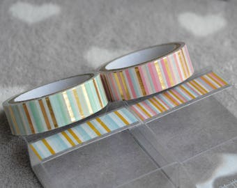 2 ribbons decorative patterned paper adhesive metallic gold designs