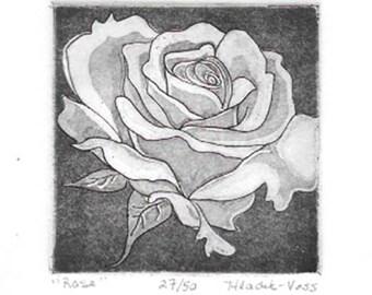 Rose Aquatint Etching-Classic Art- Original Print-Edition of 50-8 x 9
