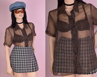 90s Leoprd Print Sheer Shirt/ XL/ 1990s/ Button Down
