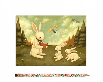 Book Lover Postcard, Bookworm Card, Reading, Rabbit, Woodland, Bunny, Bunnies, Children's, Girl, Teacher, Cute, Book Lover, Bookworm, Story