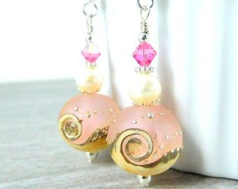 Pink White Wave Dangle Earrings, Beach Earrings, Etched Glass Freshwater Pearl Earrings, Ocean Nautical Sea Water, Beach Jewelry, Lampwork