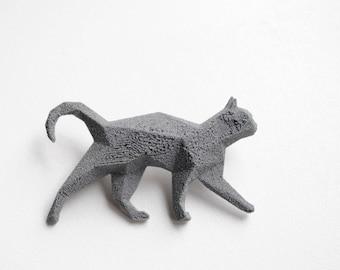 Cat Reflective 3D printed Polygonal Brooche
