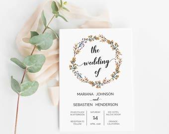 Floral Wedding Invitation Template Orange Wreath Printable, Editable Floral Wedding Invitation template - Orange Floral Wreath : IDB002A