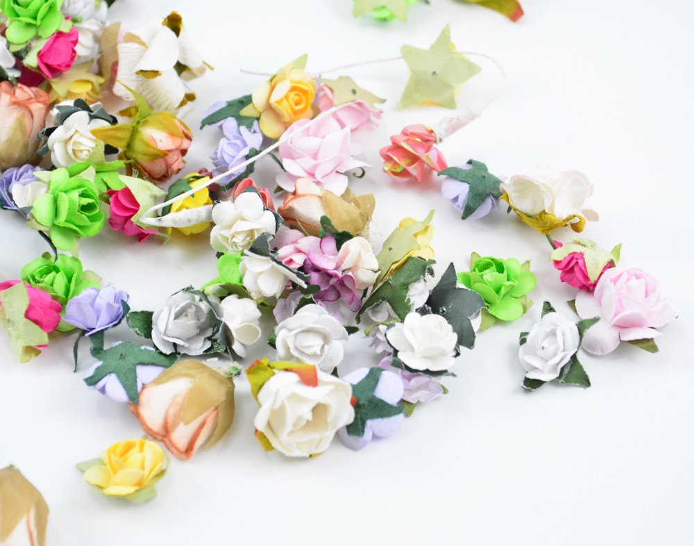 36 Grab Bag Paper Flowers -Color Assorted Small Paper Flowers -Mix ...