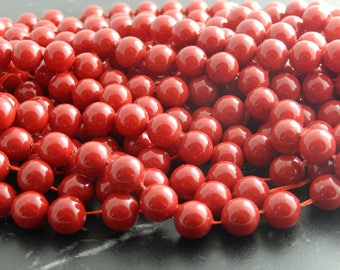 Red shell beads, set of 10, 8 mm