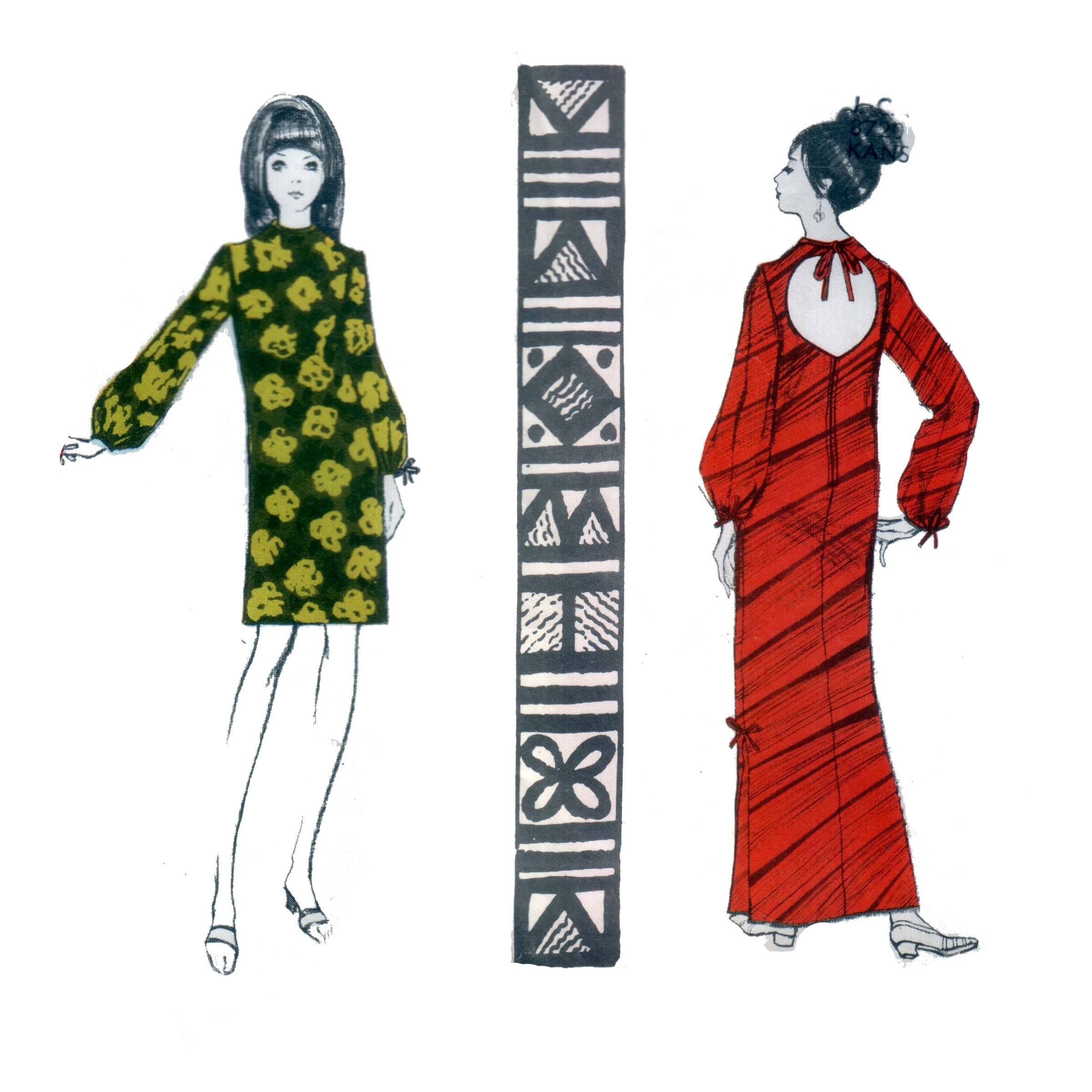 Kleid Muster Hawaii Kleid Muster der 70er Jahre Muu Muu Muster