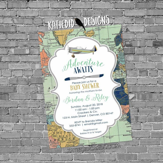 Two moms baby shower | vintage airplane baby shower | World Map | rustic shower invitations gender neutral | Two Dads | 12124 Katiedid Cards