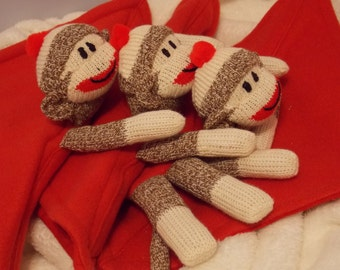 Cute Sock Monkey Blanket, Personalized, Red Fleece and Flannel, Limited Edition, Blanket Doll Toy Plush Stuffed Animal Child