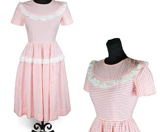 1940s Dress // Pink White Striped Eyelet Lace Ruffle Puff Sleeve Cotton Dress