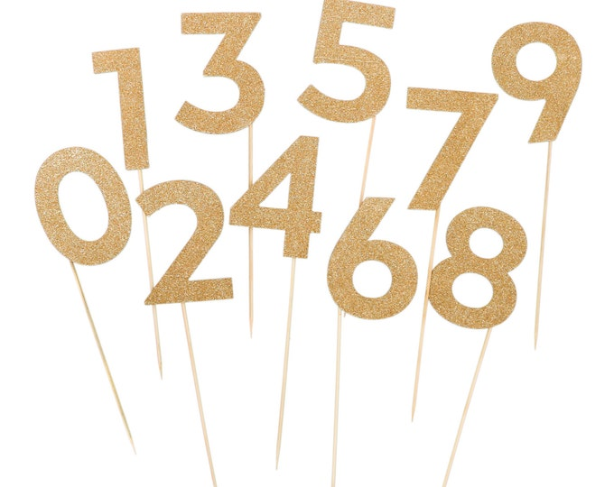 10 Number cake topper SET, birthday cake topper, Gold number stakes, number Party Picks, Glitter Number Cake Toppers, Vintage Party Picks