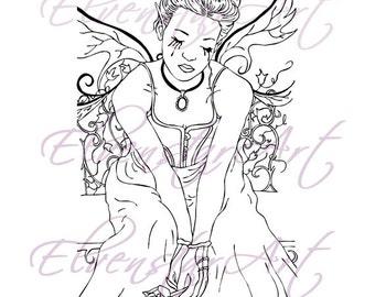 DIGI Stamp Printable Scrapbooking Card Making Crafts Fantasy Gothic Fairy Victorian Sad Rose Ivy Tears Digital Stamp Download Coloring