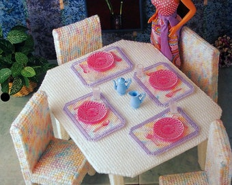 Contemporary Dining Decor By Shirley Kogler And Annie's Fashion Doll Plastic Canvas Club Vintage Plastic Canvas Pattern Leaflet 1995