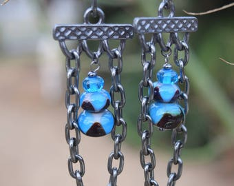 Handblown glass beads and chain accent earrings
