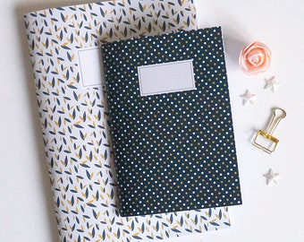 Blue notebook with polka dots