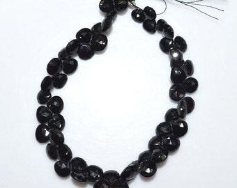 """1 Strand Natural Black Spinel Faceted Heart Shape Beads - Black Spinel Briolette , 6.5x6.5 - 8x8 mm , 8"""" , BL1618"""
