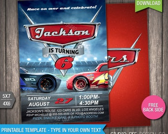 Cars 3 Invitation - 50% OFF - INSTANT DOWNLOAD - Printable Disney Cars 3 Birthday Invite - Lightning - DiY Personalize & Print - (CAin02)