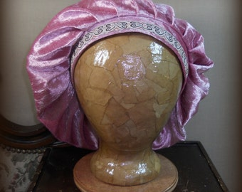 Dusty Rose Renaissance Muffin Cap - Medieval Caul -  Crushed Velvet Beret, Floppy Hat With Embroidered Trim In Mauve, Pink