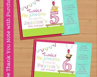 Gymnastics birthday party invitation. Printable digital. Girl 5x7. FREE THANK YOU Card!