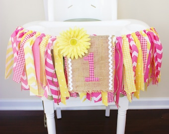 You are My Sunshine Banner, Pink Lemonade Party, Sunshine Highchair Banner, 1st Birthday banner High chair decoration, Cake Smash Photo prop