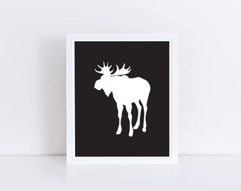 Moose Print, Black and White Wall Art, Digital Print, Moose Silhouette, Instant Download, Home Decor, Black and White Nursery Decor, Moose