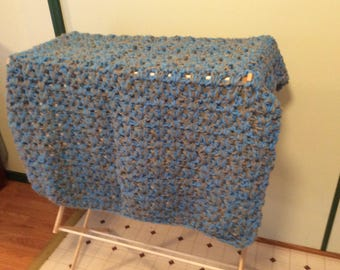 Chunky Crocheted Throw/Afghan/Blanket Gray(Grey) and Blue Handmade