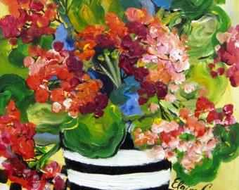Geraniums Original painting 11 x 14  acrylic painting canvas art by Elaine Cory