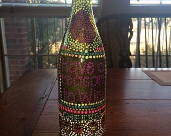 Hand Painted Wine Bottle.  Have a Reason to Wine.
