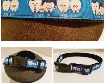 Blue Dental Dog Collar - Dental Dog Leash - Dog Gifts - Gift for Dentist - Dog Collar