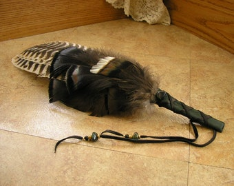 """Turkey Feather Fan 18"""" long with wing section, wrapped in green deerskin leather, agate gemstone & brass beads #1810"""
